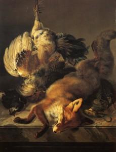 Ignaz Hofer, Stilleben mit Fuchs und Geflügel, 1851