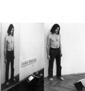 Hartmut Skerbisch, reden blattartig. Stück für Ausstellungsbesucher, Wien Galerie Pakesch 1981