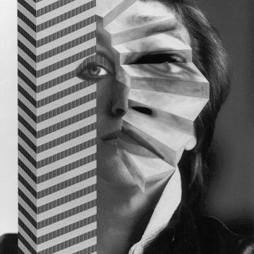 VALIE EXPORT, Selbstportrait mit Stiege und Hochhaus, 1989