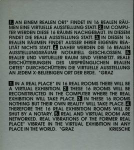 Richard Kriesche, Sphären der Kunst, Neue Galerie Graz 1996