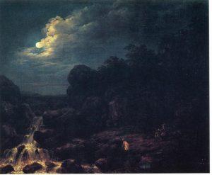 Franz Josef Manskirsch, Mondlandschaft mit Jäger, um 1800