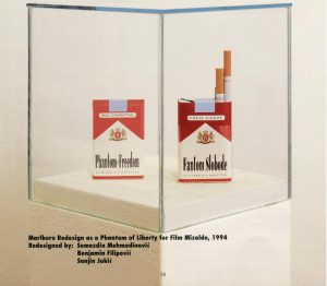 Sanjin Jukić, Marlboro Redesign as a Phantom of Liberty for Film Mizaldo. Graz, Neue Galerie 1994