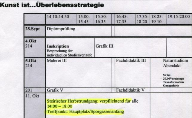 Lehre, Pädagogische Akademie der Diözese Graz Seckau, WS 2006/7