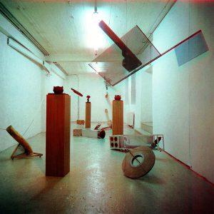 W. W. Anger, Designstudie für ein Starwarprogramme oder die Leere dazwischen. Besucher, Künstlerwerkstatt Lothringerstrasse, München 1988