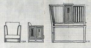 Kolo Moser, Entwurf für ein Fauteuil, um 1904, Hochschule für angewandte Kunst, Wien