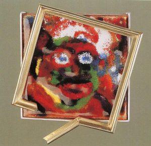 """Werner Schmeiser, """"James Ensor - Dame mit Maske"""", 1997, Graz grüßt Villa De Bondt, Gent 1998"""