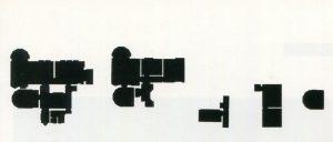 """Wolfgang Temmel, """"Villa De Bondt"""", Entwurf für eine fünfteilige Brosche, Graz grüßt Villa De Bondt, Gent 1998"""