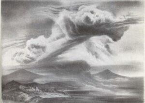 Fritz Silberbauer, Landschaft mit drohenden Wolken, um 1940